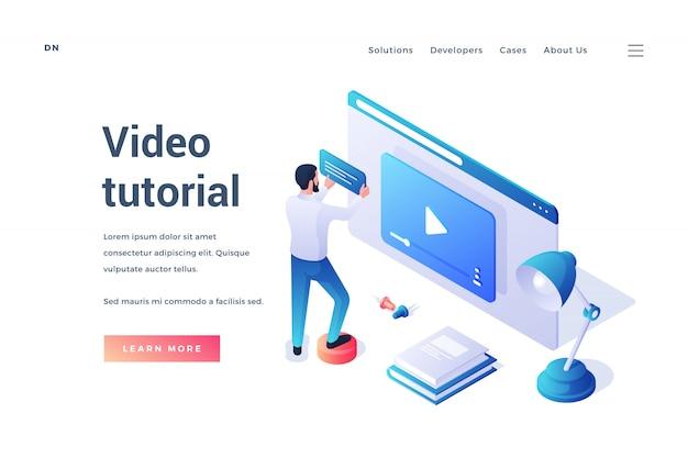 Dreidimensionales design der webseitenvorlage mit dem männlichen mann, der online durch bequemen dienst des video-tutorials auf weißem hintergrund lernt