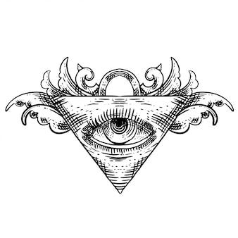 Dreieck auge kreuz schraffur linearen stil