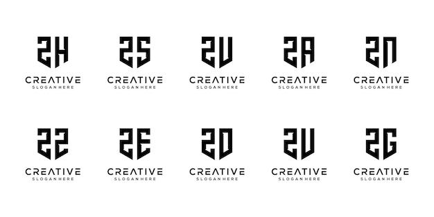 Dreieck form buchstabe z kombiniert mit anderen monogramm-logo-designs