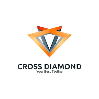 Dreieck-kreuz-diamant-logo-illustrations-schablone