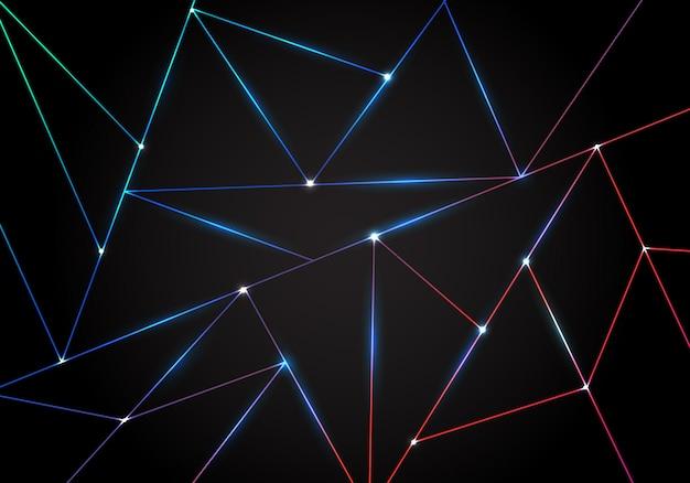 Dreieck-laserlinien der abstrakten technologie polygonale hintergrundschwarzdreiecke