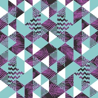 Dreieck pastell abstrakt mit palmblättern nahtlose muster