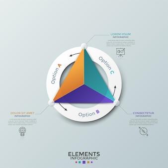 Dreieck unterteilt in 3 bunte teile innerhalb eines weißen papierrings, dünne liniensymbole und textfelder. zyklisches diagramm mit drei optionen. moderne infografik-design-vorlage. vektor-illustration.