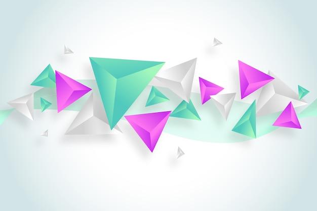 Dreiecke 3d im klaren farbhintergrund