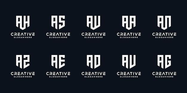 Dreieckform buchstabe a kombiniert mit anderen monogramm-logo-designs