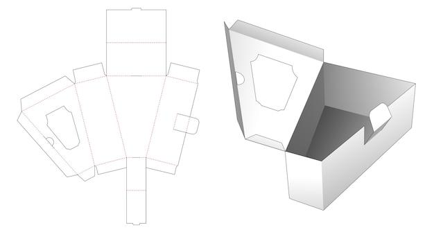 Dreieckige box mit einem flip, der eine gestanzte fensterschablone hat