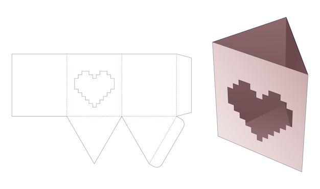 Dreieckige briefpapierbox mit herzförmigem fenster in gestanzter vorlage im pixel-art-stil