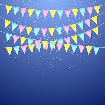 Dreieckige flaggengirlande des farbfestivals. dekorationsbanner für geburtstagsfeiertag, fest, karneval und jubiläum. bunte fahnen mit konfetti. illustration auf blauem hintergrund