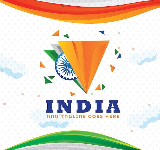 Dreieckige form des abstrakten indischen flaggen-hintergrundes