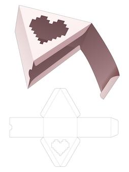 Dreieckige geschenkbox mit herzförmigem fenster in gestanzter vorlage im pixel-art-stil