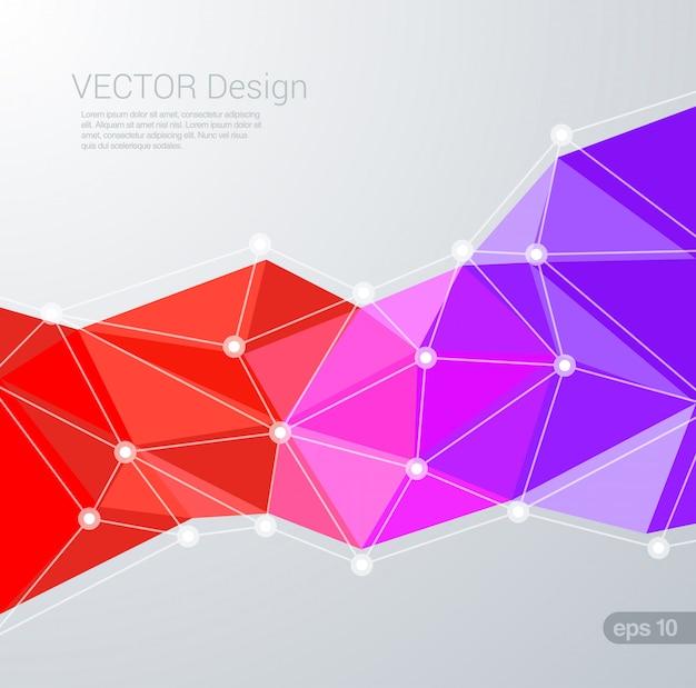Dreieckiger hintergrund des polygonalen plexus geometrischen flachen stils.