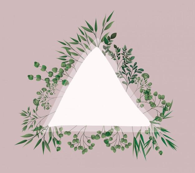 Dreieckiger rahmen mit lorbeerblättern