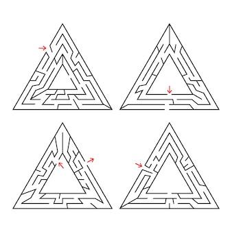 Dreieckiges labyrinth mit eingang und ausgang. ein satz von vier labyrinthen.