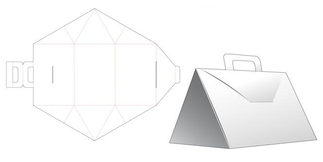 Dreiecksbox mit griff gestanzte schablonendesign