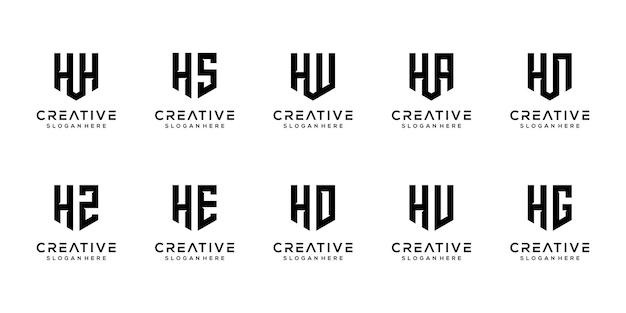 Dreiecksform buchstabe h kombiniert mit anderen monogramm-logo-designs