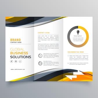 Dreifach-business-broschüre design-vorlage mit wellenförmigen gelben schwarzen formen