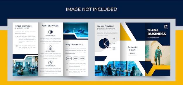 Dreifach gefaltete broschüre, design der business trifold-broschüre, corporate trifold-broschüre premium