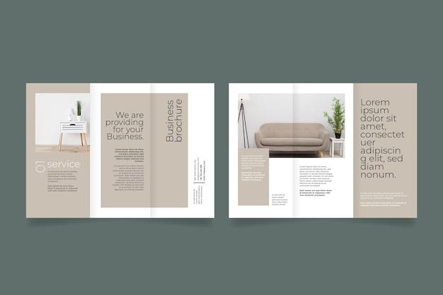 Dreifach gefaltete broschüre für wohnkultur vorne und hinten