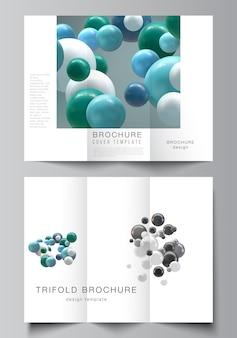Dreifach gefaltete broschüre mit bunten 3d-kugeln, glänzenden blasen, kugeln.