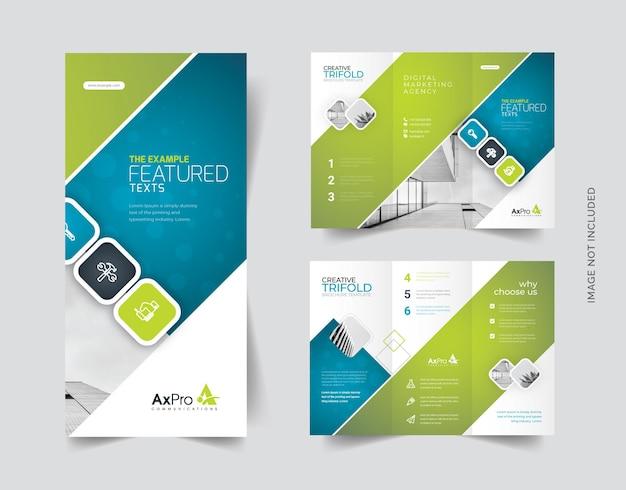 Dreifach gefaltete broschüre mit zusammenfassung