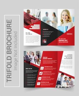 Dreifach gefaltete broschüre rotes und schwarzes design