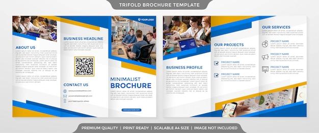 Dreifach gefaltete broschüre vorlage design minimalistischen stil