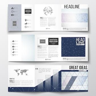 Dreifach gefaltete broschüren, quadratische designvorlagen