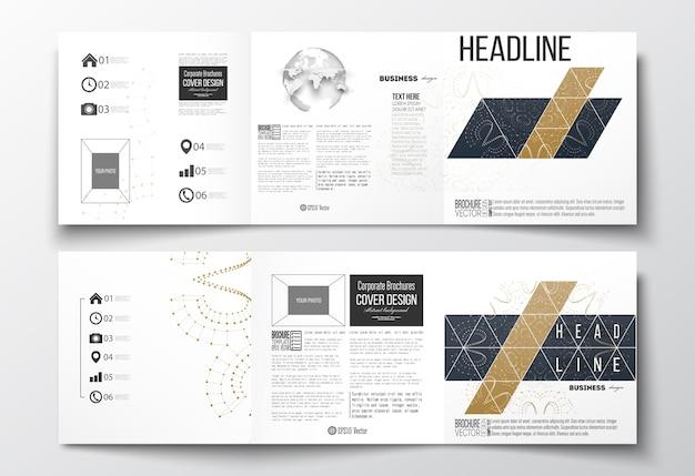 Dreifach gefaltete broschüren, quadratische designvorlagen.