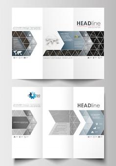 Dreifach gefaltete broschürengeschäftsvorlagen auf beiden seiten. abstrakter aufbau 3d