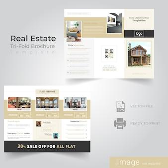 Dreifach gefaltete broschürengestaltung für immobilienunternehmen