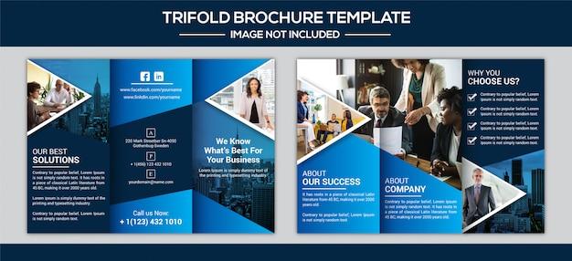 Dreifach gefaltete broschürengestaltung für unternehmen