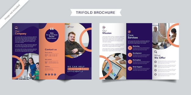 Dreifach gefaltete broschürengestaltung