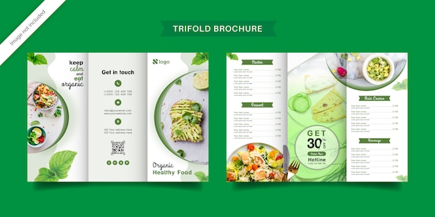 Dreifach gefaltete broschürenschablone für bio-lebensmittel