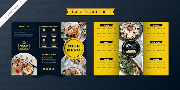 Dreifach gefaltete broschürenschablone für lebensmittel. fast-food-menübroschüre für restaurants mit gelber und dunkelblauer farbe.