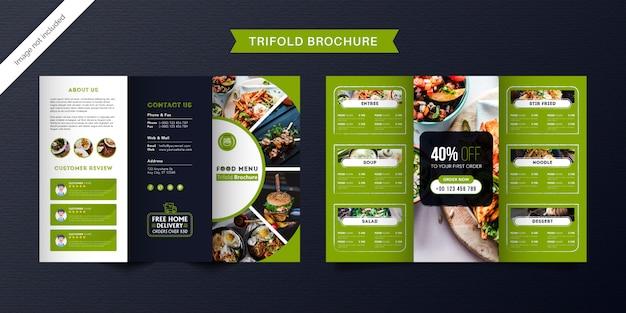 Dreifach gefaltete broschürenschablone für lebensmittel. fast-food-menübroschüre für restaurants mit grüner und dunkelblauer farbe.