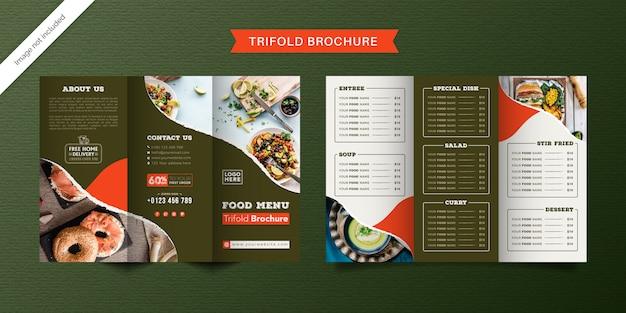 Dreifach gefaltete broschürenschablone für lebensmittel. fast-food-menübroschüre für restaurants mit grüner und heller farbe.