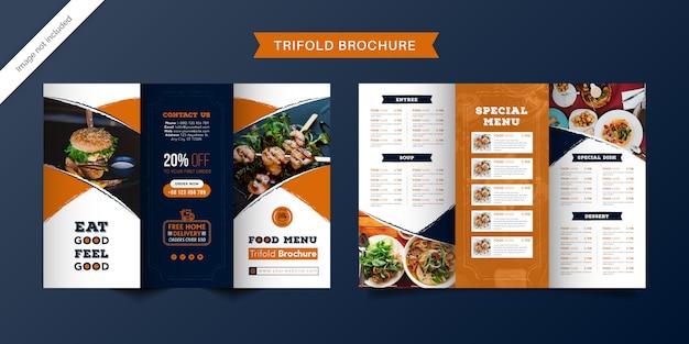 Dreifach gefaltete broschürenschablone für lebensmittel. fast-food-menübroschüre für restaurants mit orange und dunkelblauer farbe.