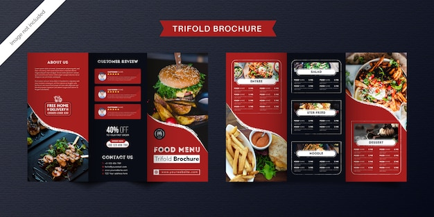 Dreifach gefaltete broschürenschablone für lebensmittel. fast-food-menübroschüre für restaurants mit roter und dunkelblauer farbe.