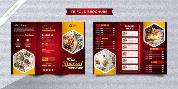 Dreifach gefaltete broschürenschablone für lebensmittel. fast-food-menübroschüre für restaurants mit roter und gelber farbe.