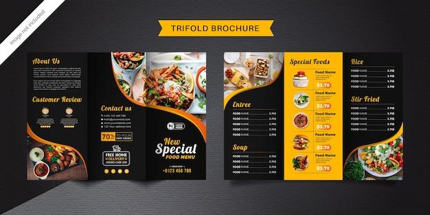 Dreifach gefaltete broschürenschablone für lebensmittel. fast-food-menübroschüre für restaurants mit schwarzer und gelber farbe.