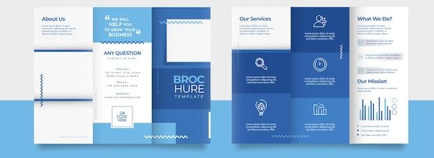 Dreifach gefaltete broschürenvorlage, broschüren-layout in blauer und weißer farbe.