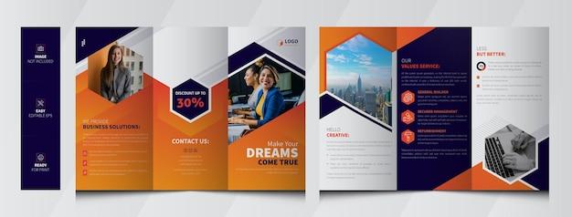 Dreifach gefaltete broschürenvorlage der unternehmensagentur