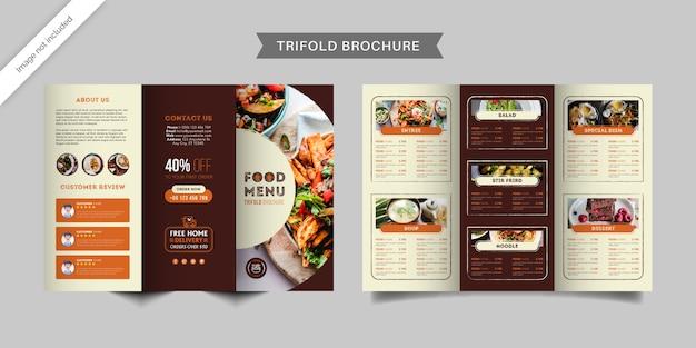 Dreifach gefaltete broschürenvorlage des fast-food-restaurantmenüs