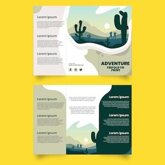 Dreifach gefaltete broschürenvorlage für abenteuer