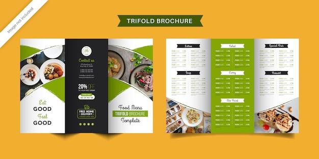 Dreifach gefaltete broschürenvorlage für die speisekarte