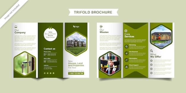 Dreifach gefaltete broschürenvorlage für immobilien