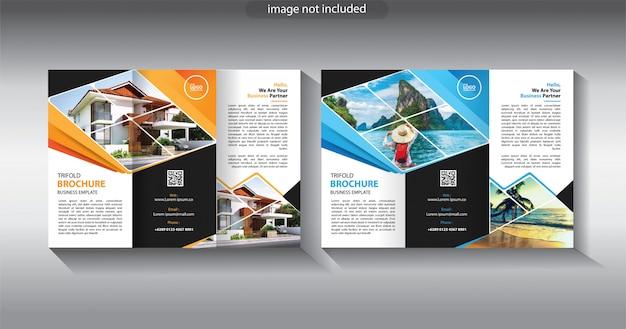 Dreifach gefaltete broschürenvorlage für layoutbroschüre