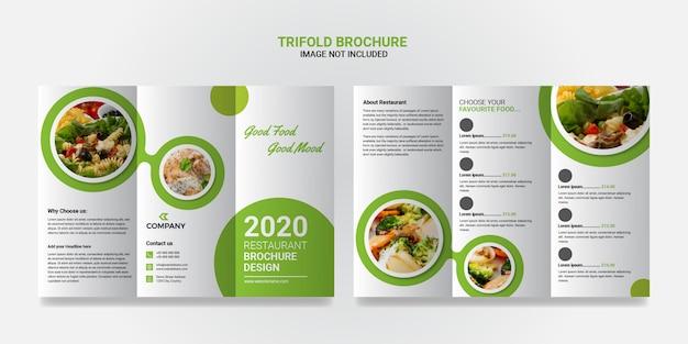 Dreifach gefaltete broschürenvorlage für lebensmittel und restaurants