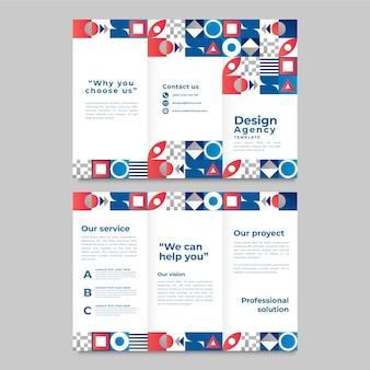 Dreifach gefaltete broschürenvorlage mit farbverlaufsmosaik