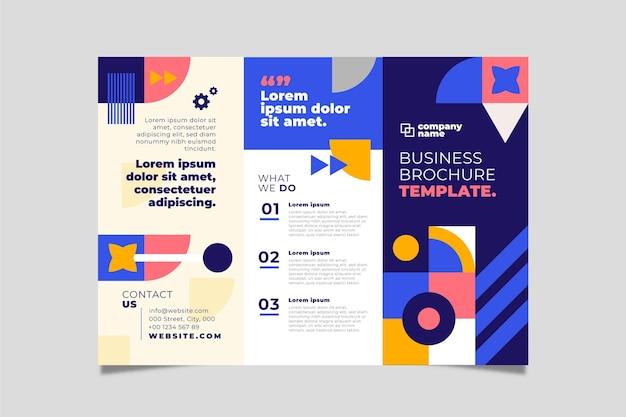 Dreifach gefaltete broschürenvorlage mit flachem mosaik